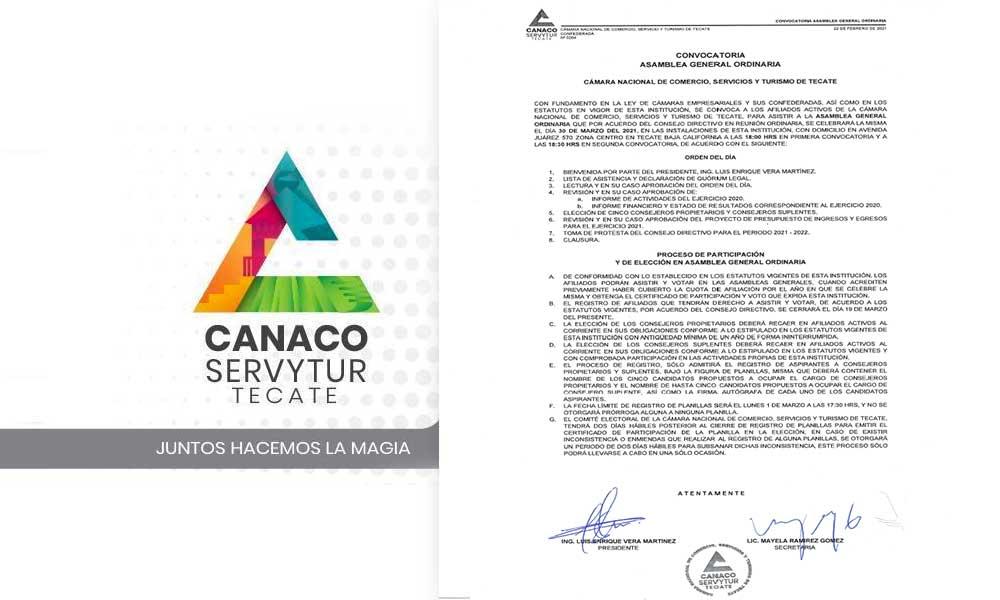 Convoca Canaco Asamblea General Ordinaria a celebrarse el día 30 de marzo