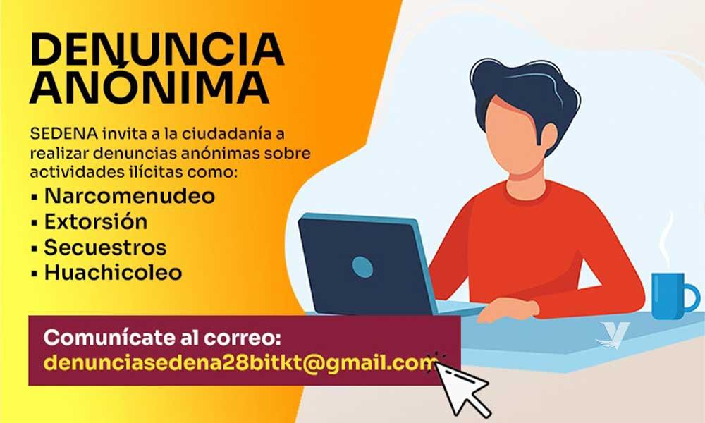 Habilita XXIII Ayuntamiento de Tecate en coordinación con SEDENA correo electrónico para denuncias anónimas