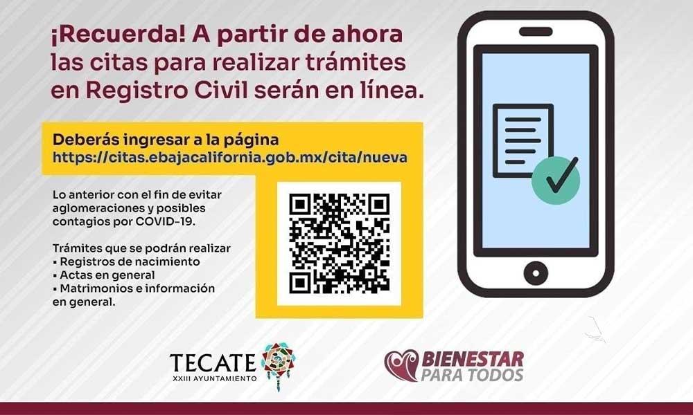 Reitera Registro Civil del XXIII Ayuntamiento de Tecate a realizar citas en línea