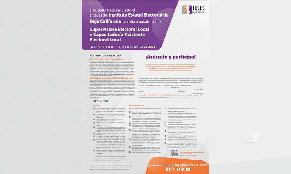Invita IEEBC a ciudadanía interesada en trabajar en el organismo como supervisores o capacitadores electorales locales