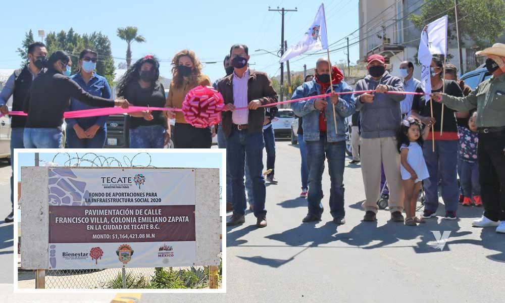 Da formal inauguración alcaldesa, Olga Zulema Adams Pereyra, a obra de pavimentación de calle Francisco Villa del fraccionamiento Emiliano Zapata