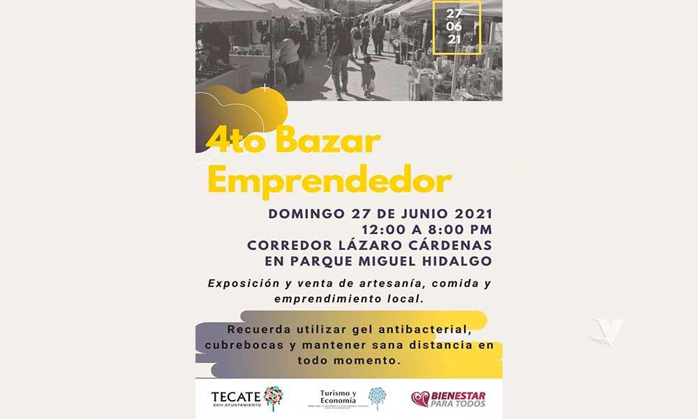 """Se llevará a cabo el 4to """"Bazar Emprendedor"""" en el corredor del Parque Miguel Hidalgo"""
