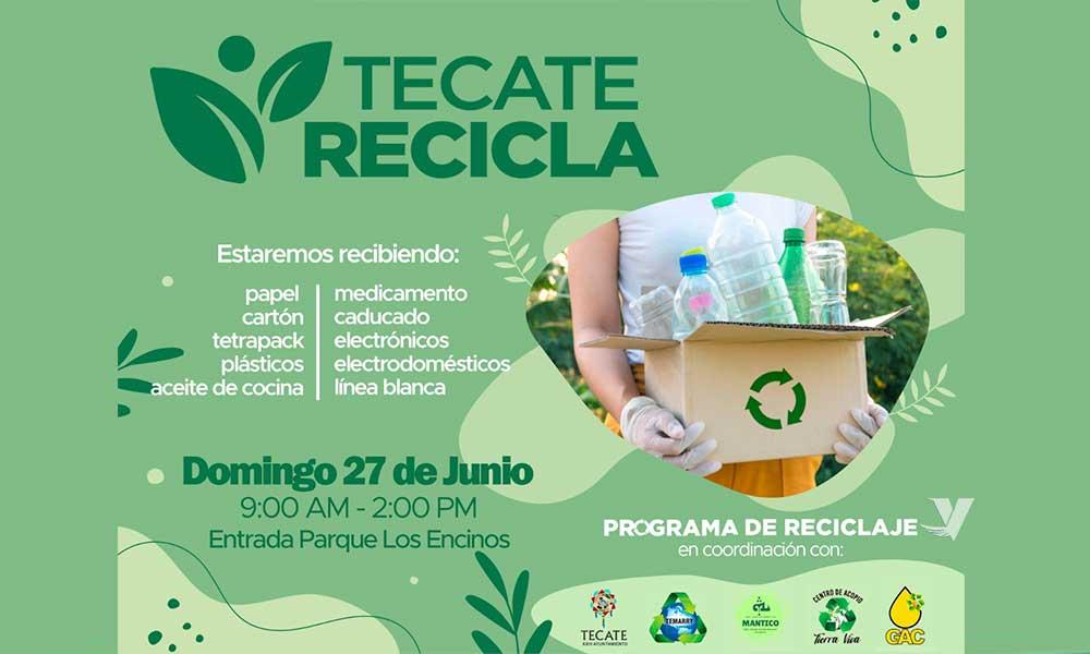 """Presenta XXIII Ayuntamiento de Tecate el programa """"Tecate Recicla"""" en rueda de prensa en parque Miguel Hidalgo"""