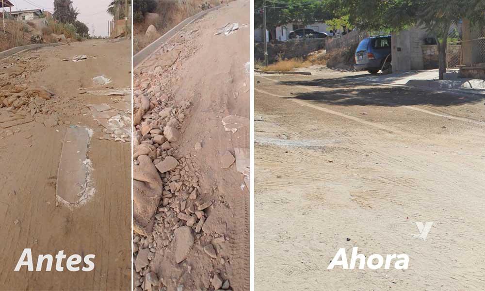 Vecinos  de la  colonia XIII Ayuntamiento agradecidos por la atención del Gobierno Municipal por los  trabajos de raspado y nivelación de la calle Juan de la Barrera
